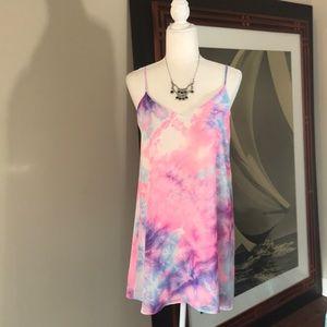 NWT Tie Dye Mini Tank Dress Pink Blue White Medium